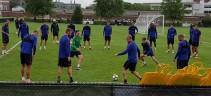 La Roma in campo per l'allenamento pomeridiano