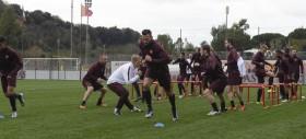 Live Trigoria - Squadra in campo per l'allenamento pomeridiano