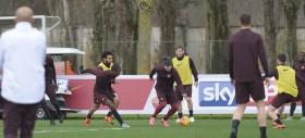 Allenamenti Roma. Squadra in campo e personalizzato per Iago Falque